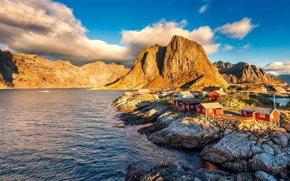 Fond d'écran Norvège, maisons, village, montagnes, lac, nuages