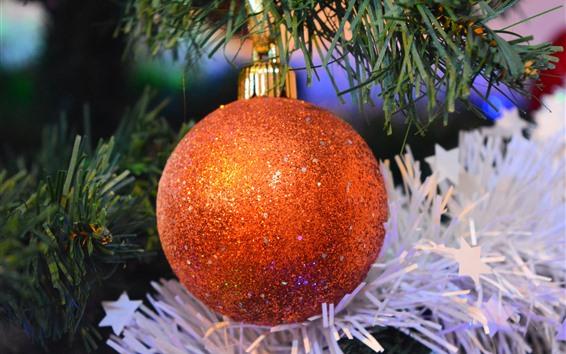 Papéis de Parede Bola de Natal laranja, brilhar