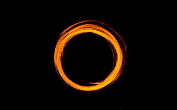 Wallpaper Orange light circle, black background