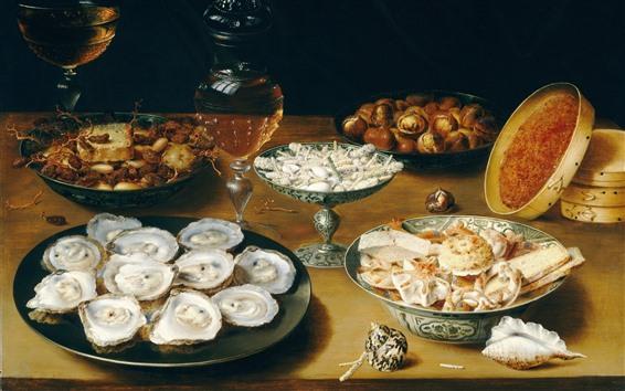 Papéis de Parede Osias Beert, ainda vida com ostras e doces