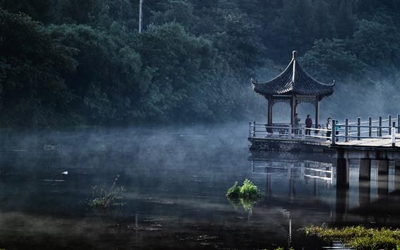 Papéis de Parede Parque, lago, gazebo, nevoeiro