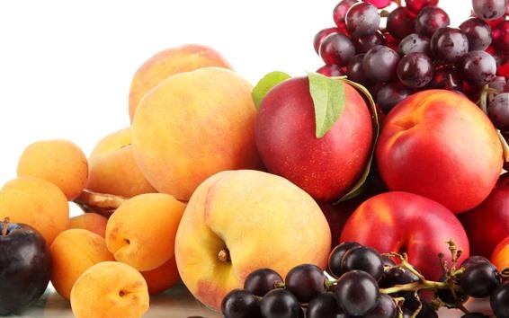 Wallpaper Peaches, grapes, fruit
