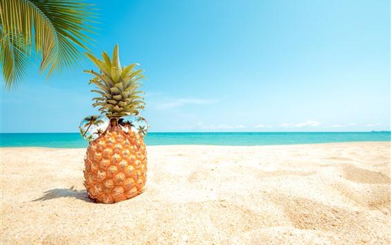 Fondos de pantalla Piña, gafas de sol, playa, palmeras, mar.