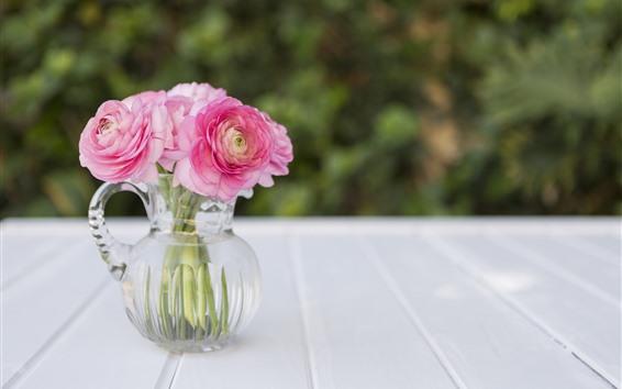 Wallpaper Pink peonies, flowers, glass vase
