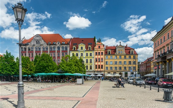 Wallpaper Poland, Wroclaw, city, street, lamp, clouds, sky