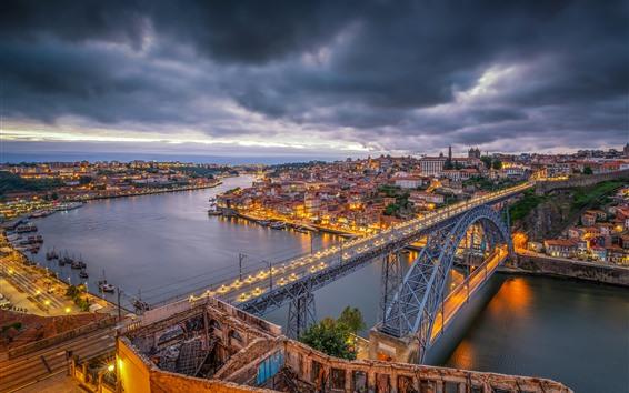Обои Португалия, город, сумерки, река, мост, освещение