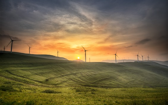 Wallpaper Qinyuan, slope, windmills, sunrise, morning, China