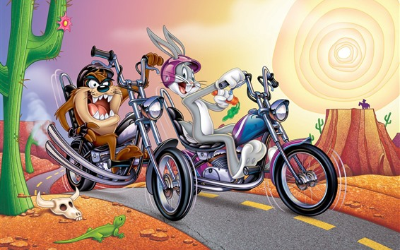 Wallpaper Rabbit and dog, motorcycle, cartoon, desert