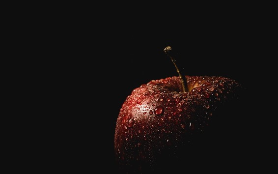 Wallpaper Red apple, water droplets, darkness