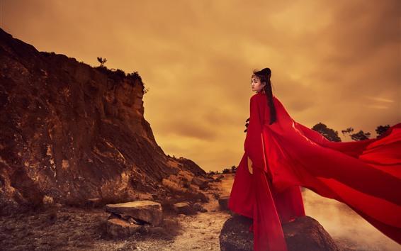 Fondos de pantalla Vestido rojo para niña, look retro, estilo retro.