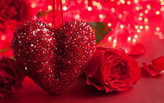 Papéis de Parede Coração vermelho amor, brilho, rosa