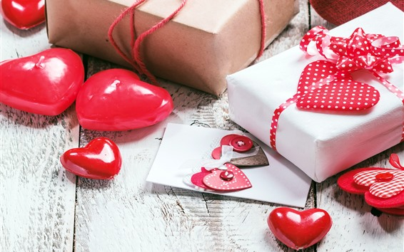 Wallpaper Red love hearts, gifts