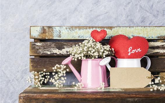 Wallpaper Red love hearts, kettle, flowers