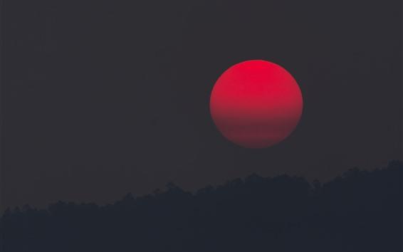 Обои Красное солнце, закат, ночь