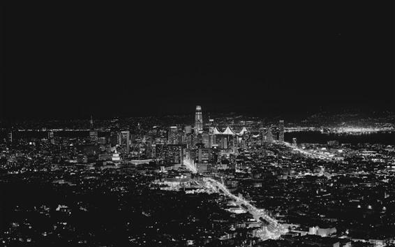 Обои Сан-Франциско, США, город ночью, огни, черно-белое изображение