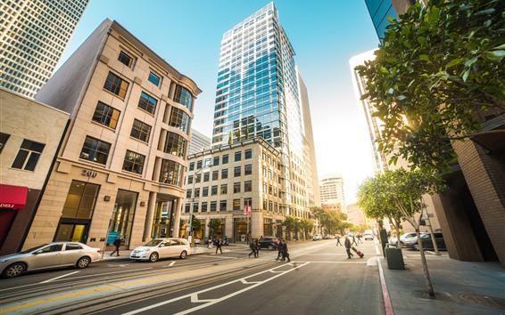 Fond d'écran San Francisco, États-Unis, ville, route, rue, bâtiments, voitures, personnes