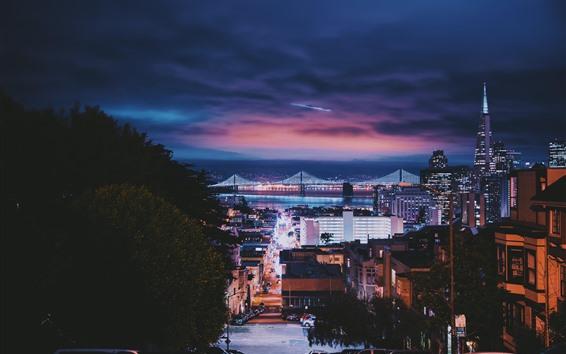 Обои Сан-Франциско, город, ночь, мост, здания, автомобили, освещение, США
