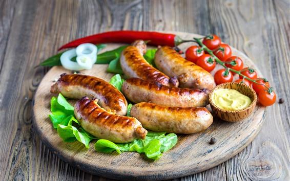 Wallpaper Sausages, tomato, food