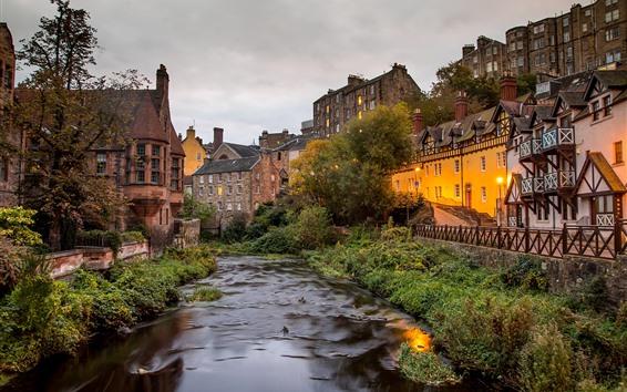 Wallpaper Scotland, Dean Village, river, house, dusk, lights