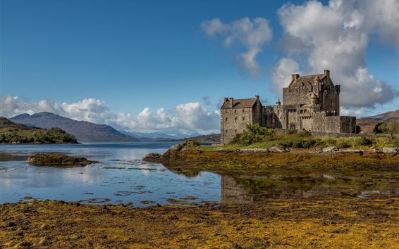 Обои Шотландия, замок Эйлеан-Донан, озеро, вода, облака
