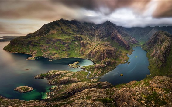 Wallpaper Scotland, Isle of Skye, mountains, sea, top view
