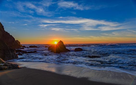 Wallpaper Sea, rocks, beach, waves, sunset