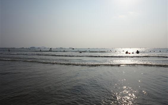 Wallpaper Sea, waves, people