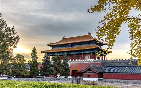 배경 화면 신무문, 자금성, 북경, 중국의 북쪽 게이트