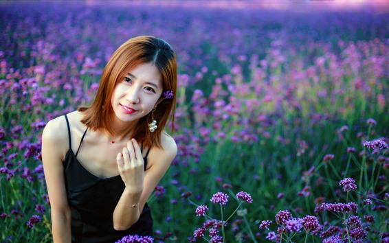 Wallpaper Short hair Chinese girl, flowers, summer