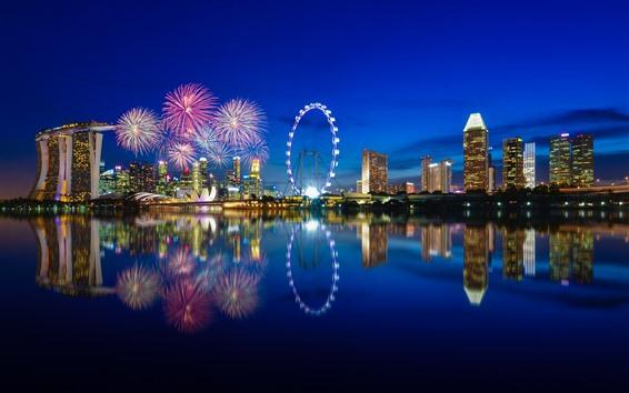 Wallpaper Singapore, city, night, buildings, ferris wheel, lights, sea, fireworks
