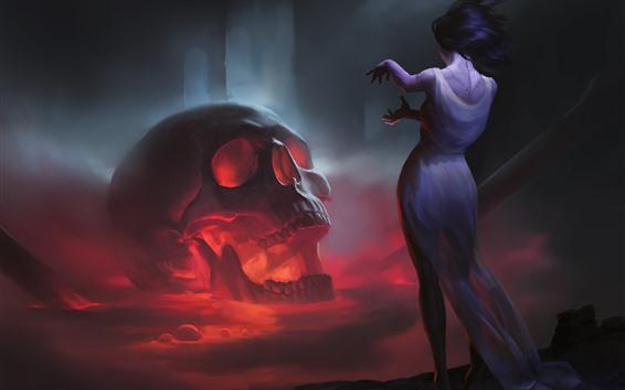 Обои Череп, девушка, ужасы, художественная фотография