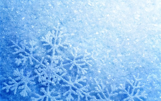 Wallpaper Snowflakes, blue, glare
