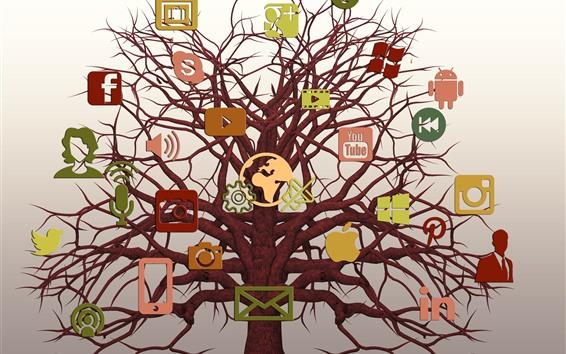 Wallpaper Social networking logos, tree, creative