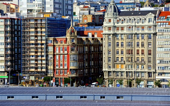 Wallpaper Spain, La Coruna, city, buildings