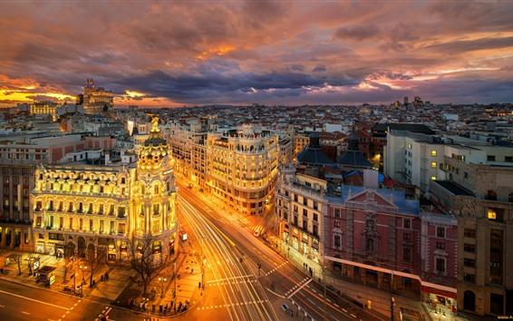 Fond d'écran Espagne, madrid, europe, ville, nuit, routes, bâtiments, lumières