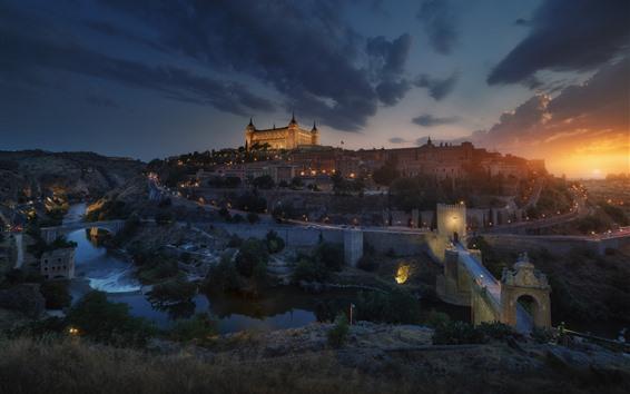 Papéis de Parede Espanha, toledo, cidade, ponte, rio, noturna, luzes