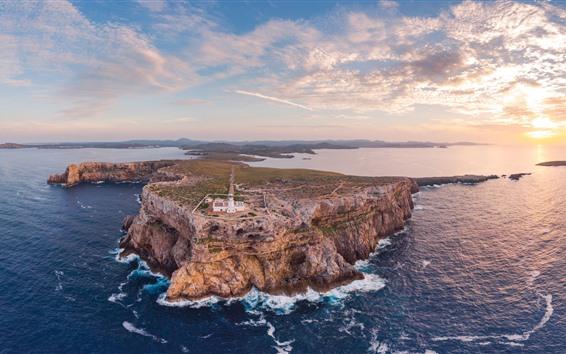 Hintergrundbilder Spanien, Leuchtturm, Meer, Wolken, Sonnenuntergang