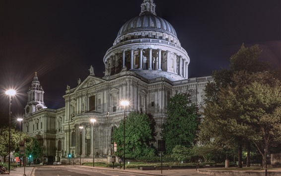 Wallpaper St. Paul's Cathedral, London, England, city night