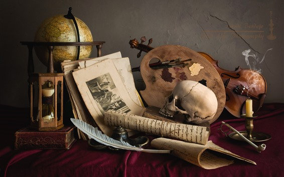 Wallpaper Still life, skull, violin, photo, candle, feather