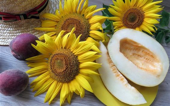 Papéis de Parede Girassóis, melão, ameixa