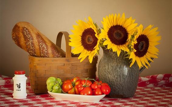 Wallpaper Sunflowers, tomato, bread, still life
