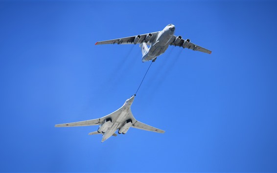 Wallpaper Swan Bomber, Tu-160 plane, air refueling