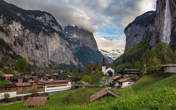 Wallpaper Switzerland, Lauterbrunnen, mountains, town