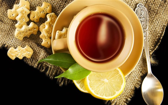 Обои Чай, чашка, печенье, ломтик лимона, ложка