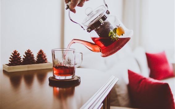 Fond d'écran Thé, tasse, bouilloire, boissons