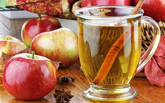 Wallpaper Tea, red apples