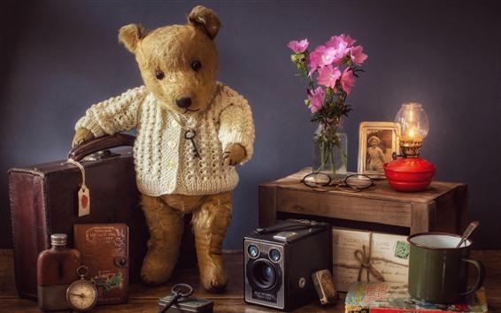 Wallpaper Teddy bear, suitcase, pink flowers, lamp, speaker, still life