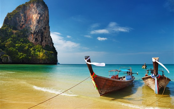 Обои Таиланд, море, пляж, лодки, голубое небо