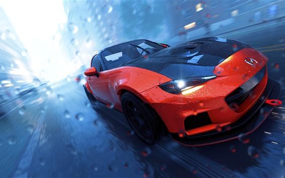 Fond d'écran The Crew 2, voiture de sport Mazda MX-5, vitesse, pluie