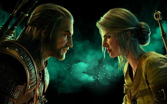 Обои Ведьмак 3: Дикая охота, мужчина и женщина, лицом к лицу